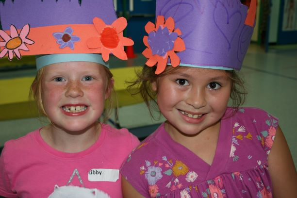 Day Camp - Wizarding Wonders Two Girls Wearing Paper Hats Photo