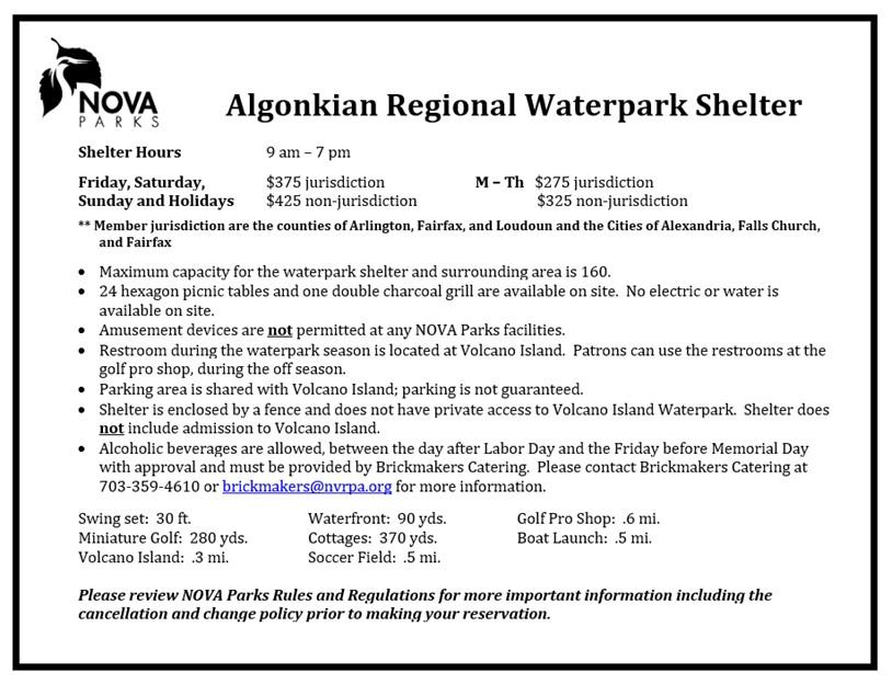 Algonkian Waterpark Shelter Details