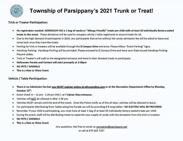 2021 Trunk or Treat Important Info